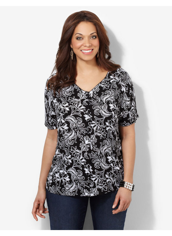 Image of Catherines Plus Size BlackWhite La Fleur Top  Womens Size 1X2X3X BlackWhite