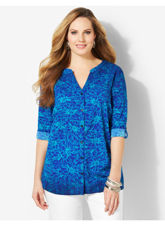 Image of Catherines Plus Size Electric Floral Blouse  Womens Size 1X2X3X Surf The Web