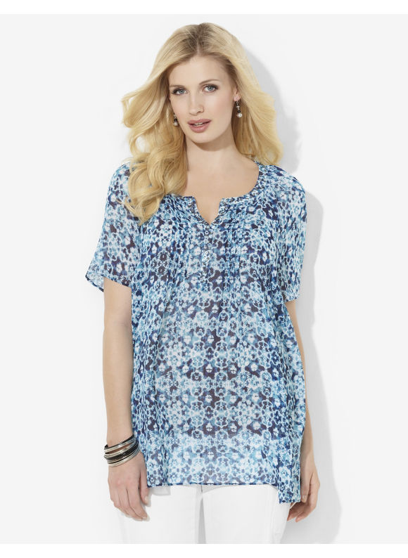 Image of Catherines Plus Size Soft Blooms Tunic  Womens Size 1X3X Deep Blue