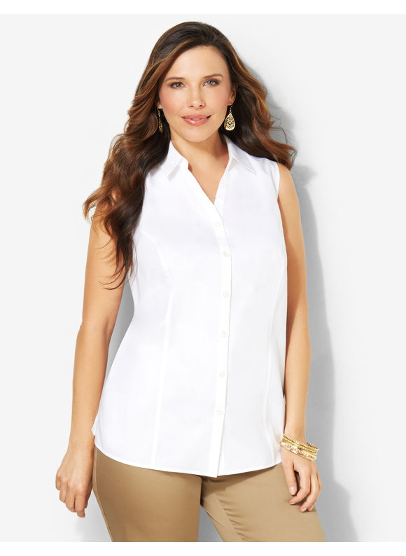 Image of Catherines Plus Size NonIron Sleeveless Shirt  Womens Size 1X2X3X White