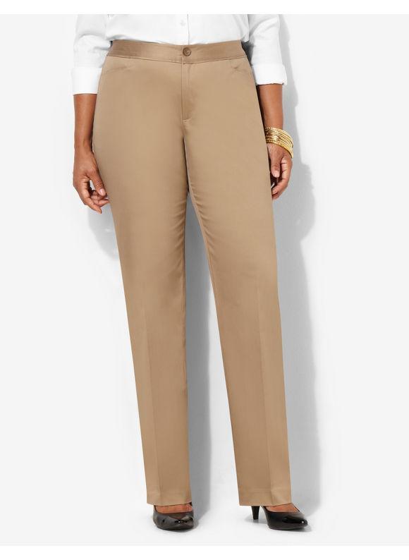 Image of Catherines Plus Size Cotton Sateen Pant  Womens Size 16W18W20W22W24W26W BlackDesert Khaki