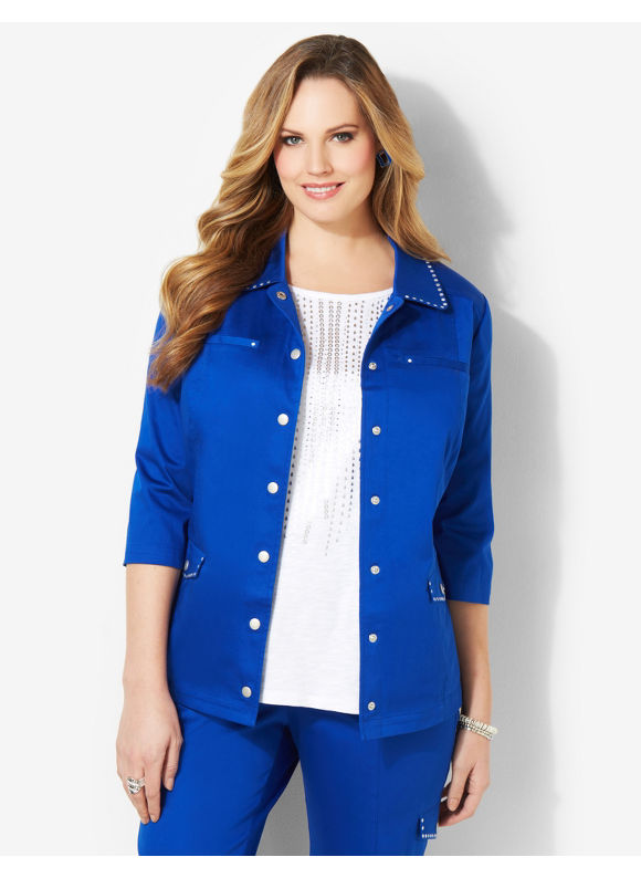 Image of Catherines Plus Size Sateen Stud Jacket  Womens Size 1X2X3X0X Surf The Web