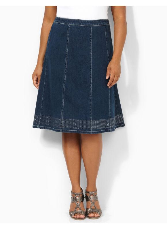 Image of Catherines Plus Size Denim Glow Skirt  Womens Size 1X2X3X0X Indigo