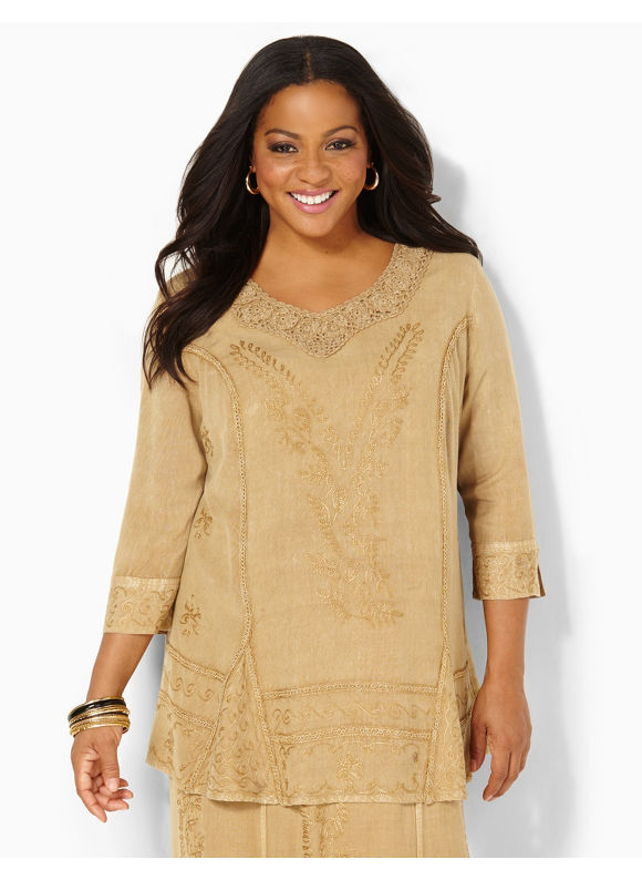 Catherines Plus Size Tapestry Tunic - Safari Khaki