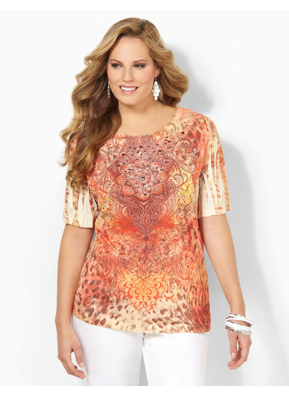 Image of Catherines Plus Size Jungle Daybreak Top  Womens Size 2X3X Molten Lava