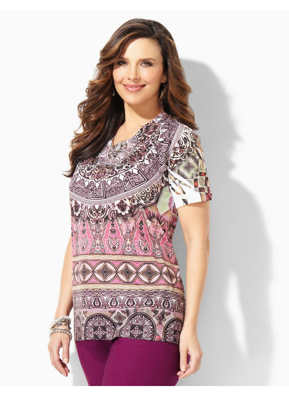 Image of Catherines Plus Size Kamuela Top  Womens Size 1X2X3X Multi Color
