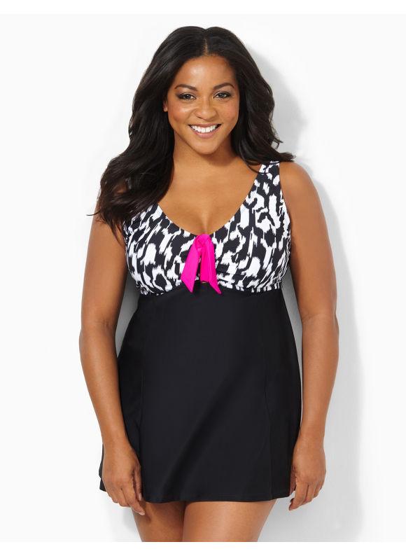 Image of Catherines Plus Size Poolside Charm Swimdress  Womens Size 20W22W Black