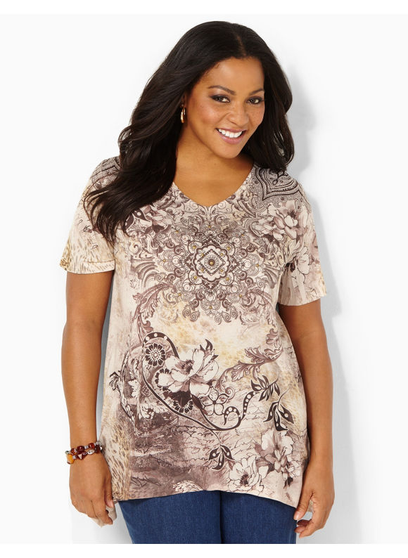 Image of Catherines Plus Size Pure Poetry Top  Womens Size 1X2X3X0X Desert Khaki