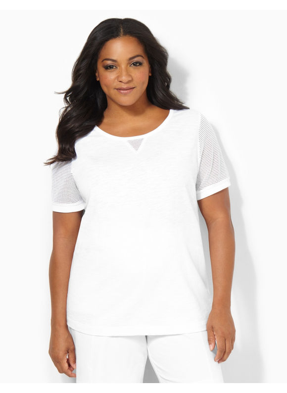 Image of Catherines Plus Size Mesh Casual Tee  Womens Size 1X2X0X White