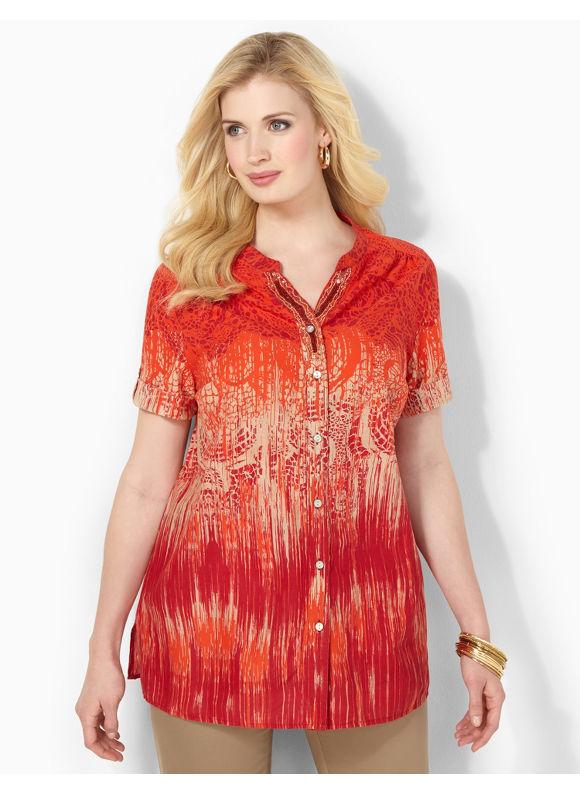 Image of Catherines Plus Size Paintsplash Tunic  Womens Size 1X2X3X0X Molten Lava