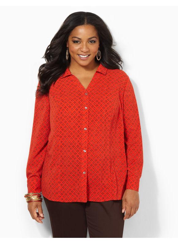 Image of Catherines Plus Size Foulard Blouse  Womens Size 1X2X3X0X Molten Lava