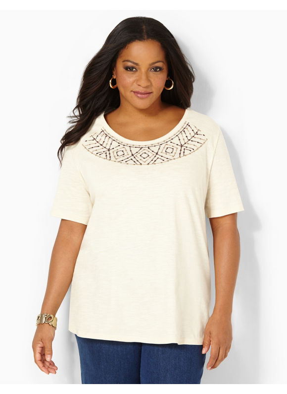 Image of Catherines Plus Size Touch Of Embroidery Top  Womens Size 1X2X3X0X BlackLight Beige
