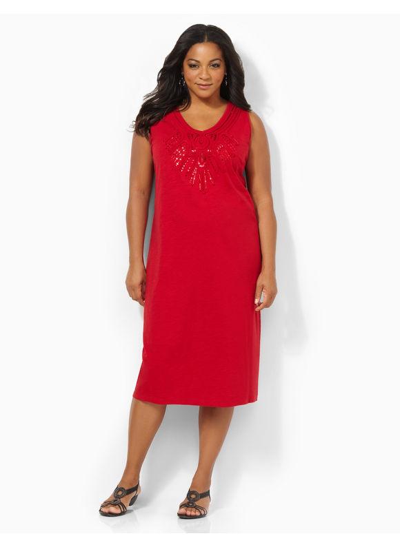 Image of Plus Size Sequin Shine Dress Catherines Womens Size 1X2X3X0X WhiteMetal RedCoffee Bean