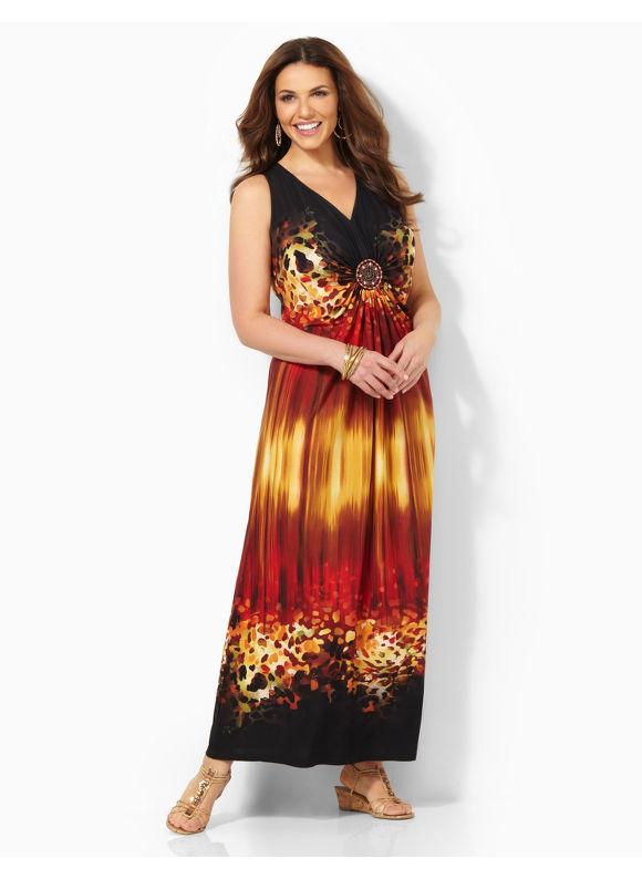 Image of Plus Size Sedona Splendor Maxi Catherines Womens Size 2X Metal Red