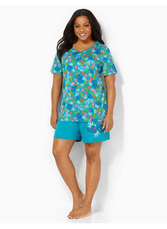 Image of Catherines Plus Size Paradise Caribbean Sleep Set  Womens Size 1X2X3X0X Blue