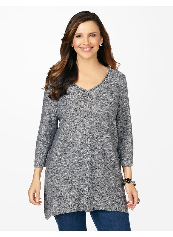 Catherines Plus Size Streamline Sweater - Women's Size 1X,2X,3X,0X, Black, Bright Blue