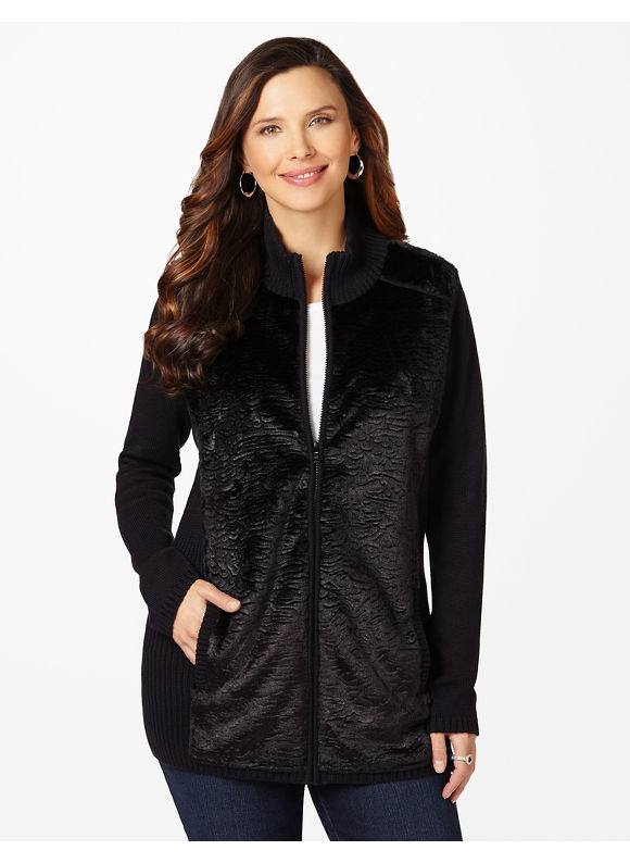 Catherines Plus Size Aspen Faux Fur Cardigan - Women's Size 1X,2X,3X,0X, Black