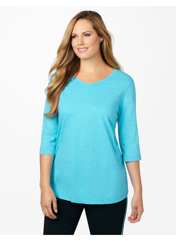 Catherines Plus Size Neon Active Tee - Scuba Blue, Andean, Diva Pink, Lime Splash, Lush Peach