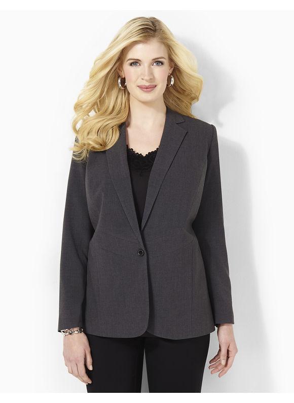Catherines Plus Size Sharp Style Blazer - Heather Grey
