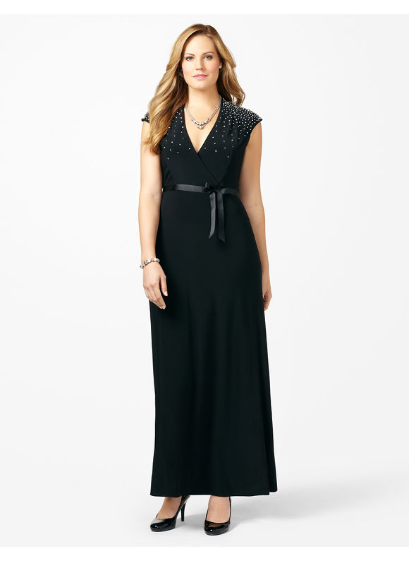 Plus Size Glisten Ribbon Gown Catherines Women's Size 1X,2X,3X,0X, Black