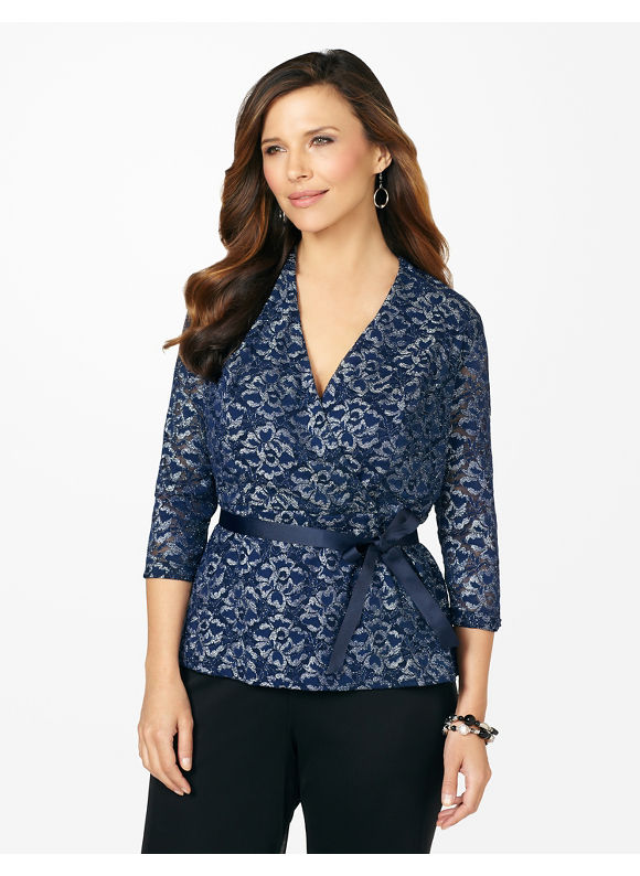 Catherines Plus Size Glitter Lace Tied Top - Dark Blue