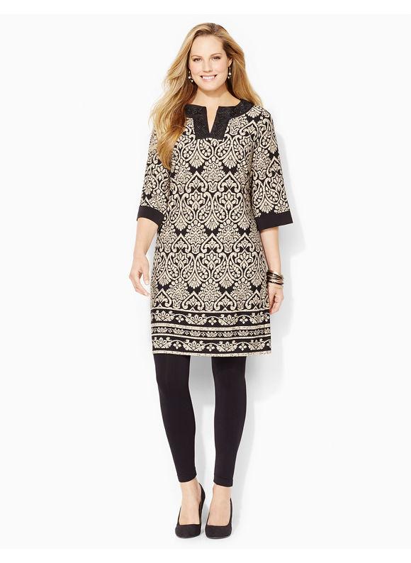 Plus Size Bella Piazza Tunic Dress Catherines  Desert Khaki