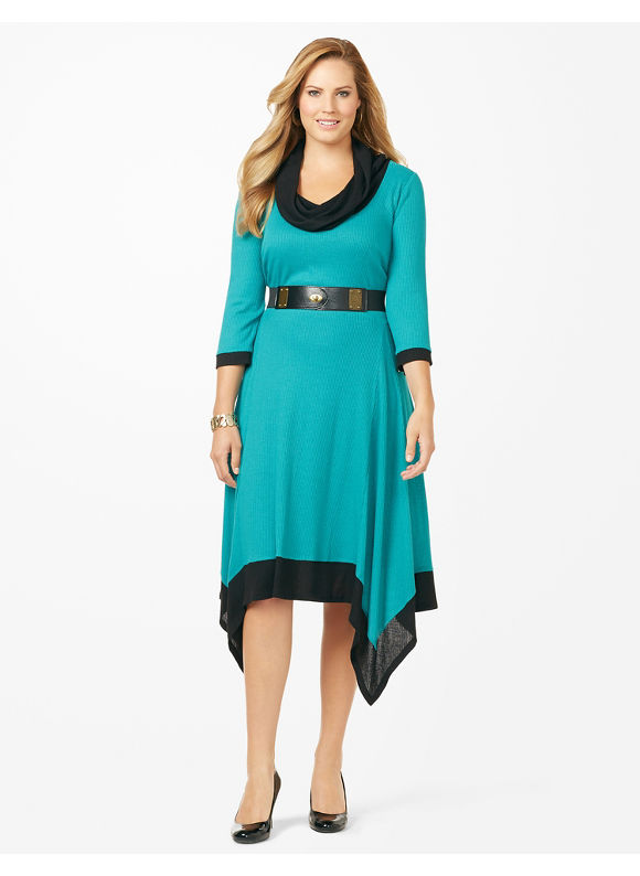 Plus Size Cowlneck Sweater Dress Catherines Women's Size 1X,2X,3X,0X, Jade Isle