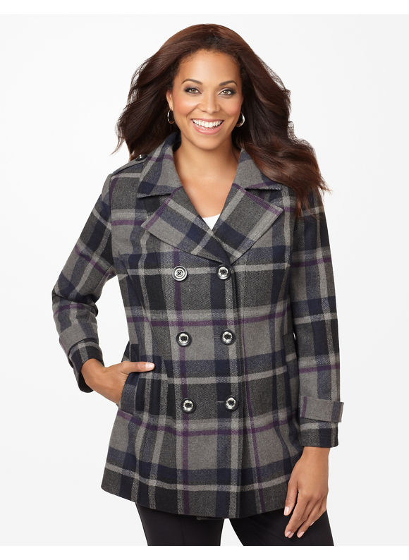 Catherines Plus Size Positively Plaid Peacoat - Women's Size 1X,2X,3X,0X, Dark Grey