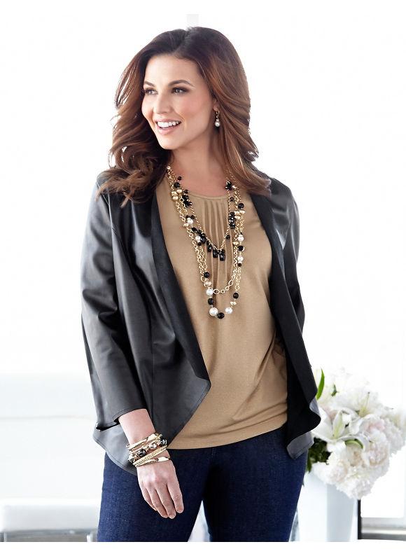 Catherines Plus Size Faux Leather & Lace Cascade - Black