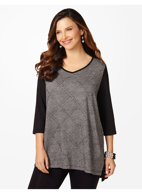 Catherines Plus Size Holiday Lights Tunic - Women's Size 1X,2X,3X,0X, Gray Heather