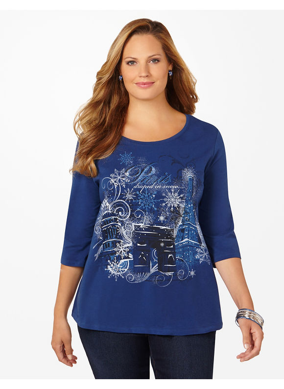 Catherines Plus Size Holiday Destination Tee - Women's Size 1X,2X,3X,0X, Black, Light Heather Grey, Cosmic Blue