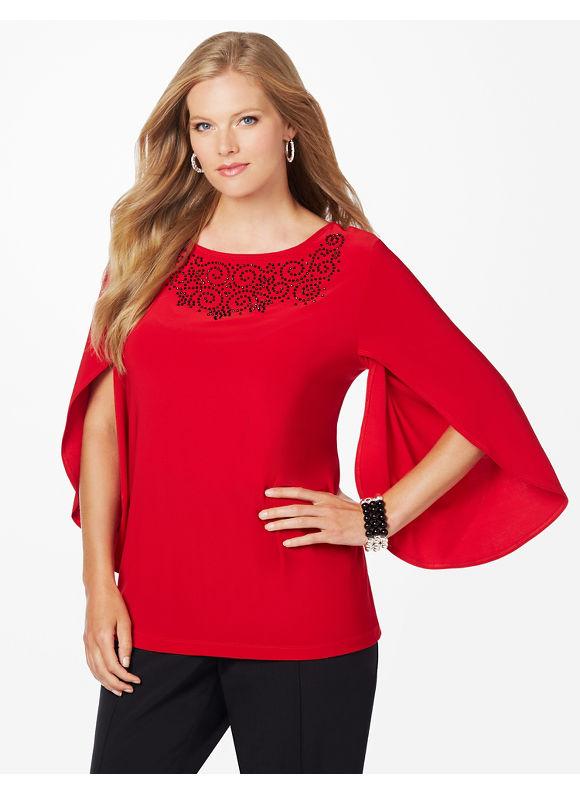 Catherines Plus Size Split-Sleeve Top, - Women's Size 1X,2X,3X,0X, Jester Red