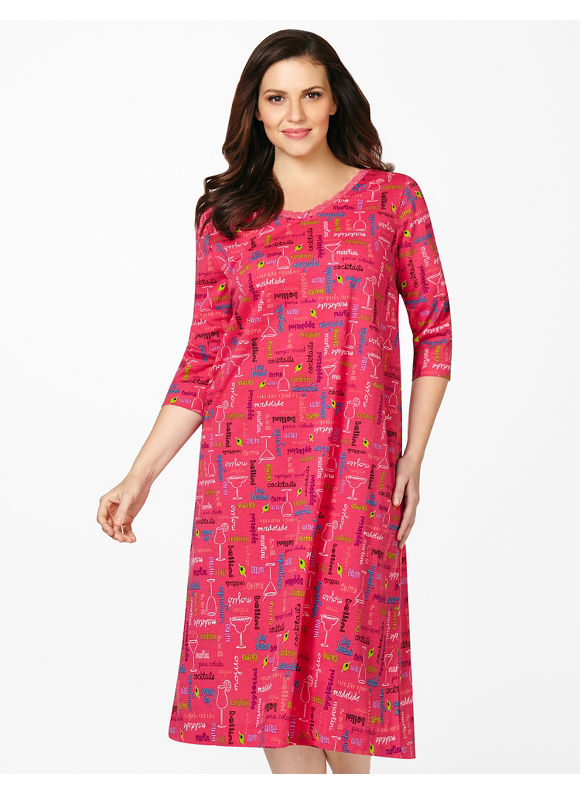 Catherines Plus Size Cocktail Hour Sleepshirt - Orchard Pink