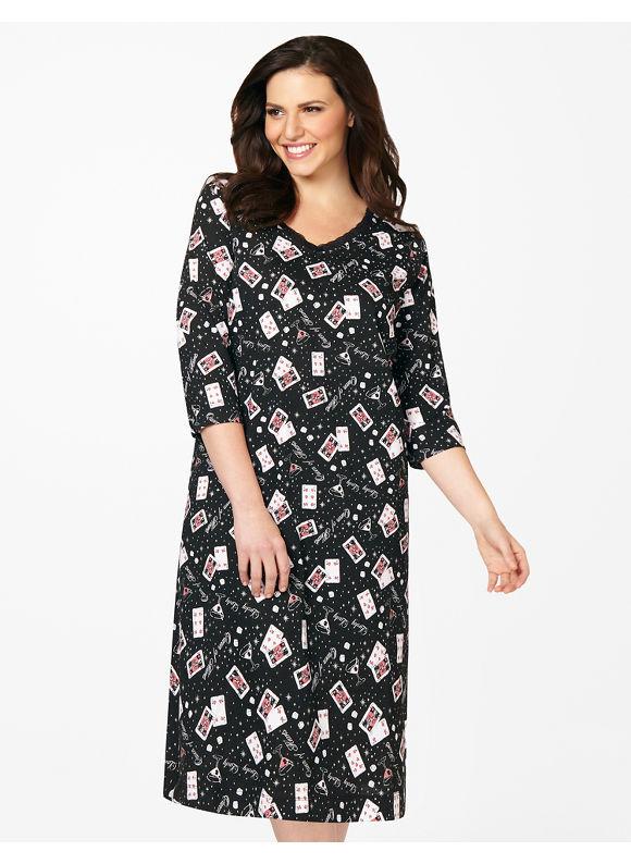 Catherines Plus Size Lucky Lady Sleepshirt - Black