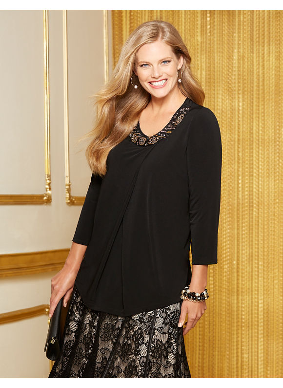Catherines Plus Size Richmond Top - Women's Size 1X,2X,0X, Black