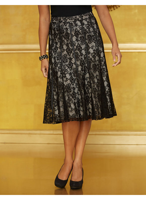 Catherines Plus Size Draped In Lace Skirt - Black