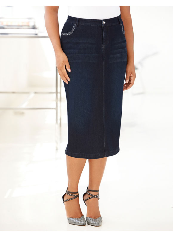 Catherines Plus Size Diamond Skirt - Women's Size 1X,    Denim plus size,  plus size fashion plus size appare