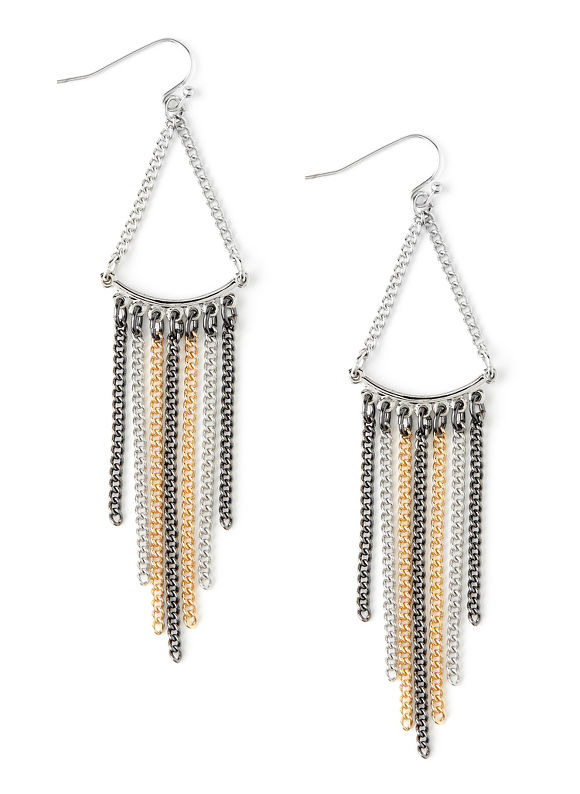 Catherines Women's Tassel 3-Tone Earrings