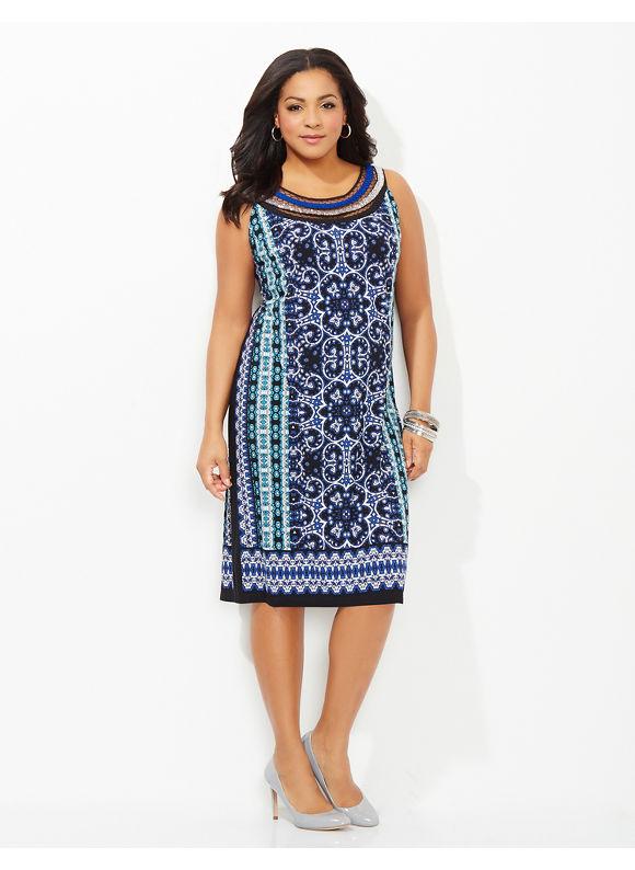 Plus Size Amalfi Shift Dress, Catherines Women's Size 2X,3X,0X, black
