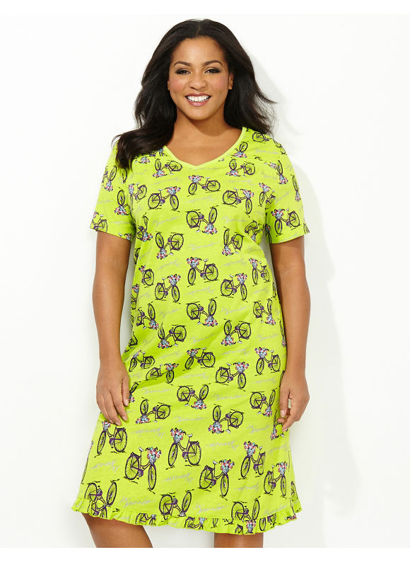 Catherines Plus Size Primavera Sleepshirt - Light Green