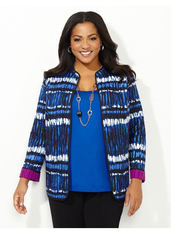 Catherines Plus Size Airwaves Reversible Jacket, - Women's Size 1X,2X,3X,0X, Calm Blue