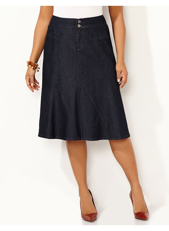 Catherines Plus Size Swirl Denim Skirt,  - Women's Size 16W, 18W, 20W, 22W, 24W,  black plus size,  plus size fashion plus size appare