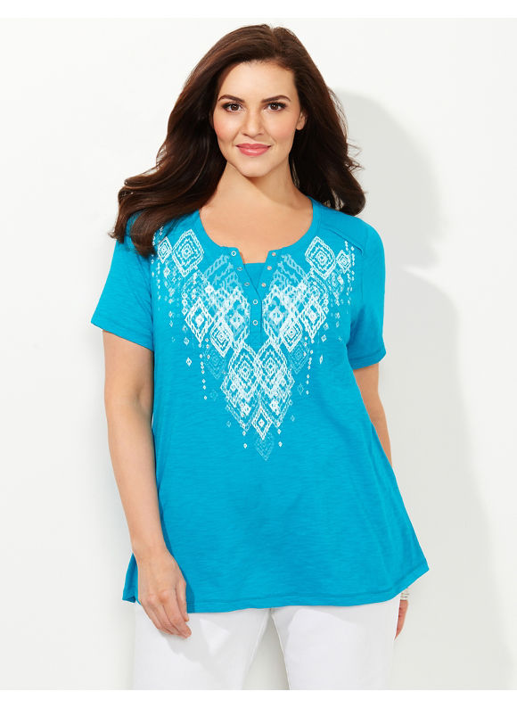 Catherines Plus Size Enchanted Diamond Top, - Women's Size 1X,2X,0X,3X, Black, Absolute Blue, Violet