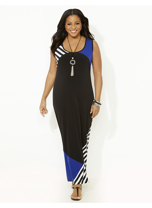 Plus Size Solid & Stripe Colorblock Maxi, Catherines Women's Size 1X,2X,3X, Galaxy Blue