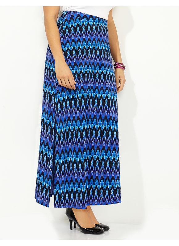 Catherines Plus Size Linear Print Maxi Skirt - purple