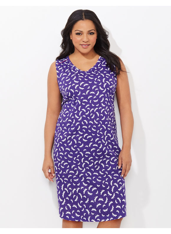 Catherines Plus Size All A Flutter Dragonfly Sleepshirt, - Women's, Regal Purple, Teal