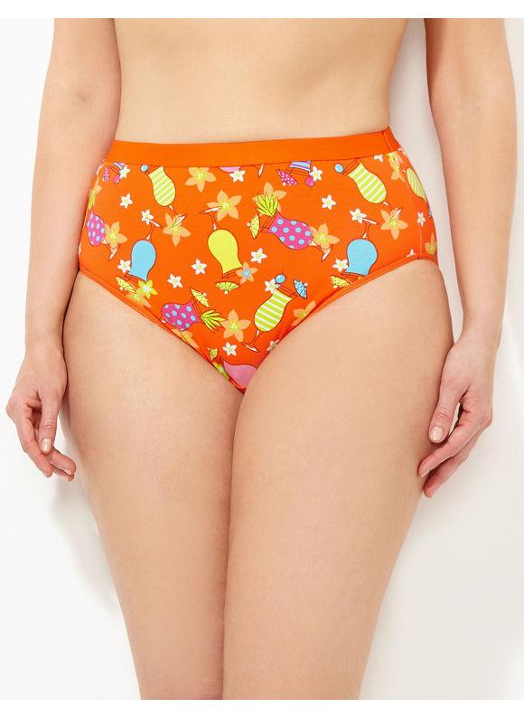 Catherines Intimates Plus Size Beach Therapy Cotton Hi-Cut Brief, Women's, Size: 9,10, Pale Orange - Catherines ~ Classic Plus Size Clothes