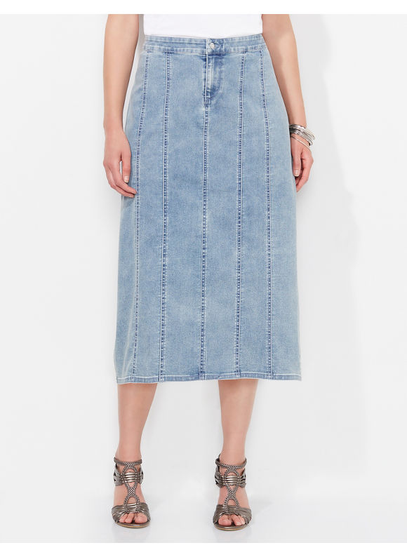 Catherines Plus Size Odessa Denim Skirt,  - Women's Size 1X,   0X,  blue plus size,  plus size fashion plus size appare
