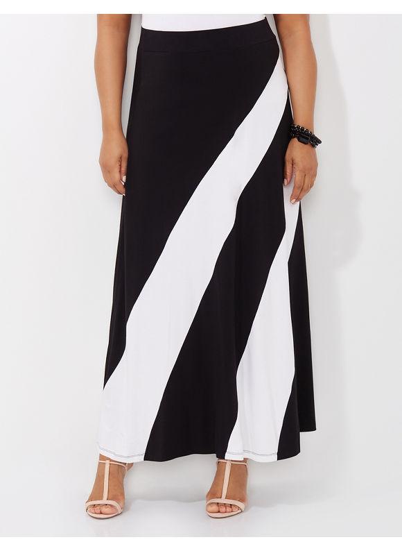 Catherines Plus Size Equilibrium Maxi Skirt - Black Multi
