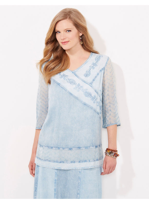 Catherines Plus Size Grecian Silhouette Tunic - Womens Size 3X blue $61.99 AT vintagedancer.com